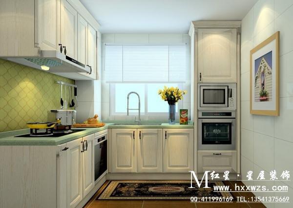 廚房較小,采用l型的櫥柜布局進行設計